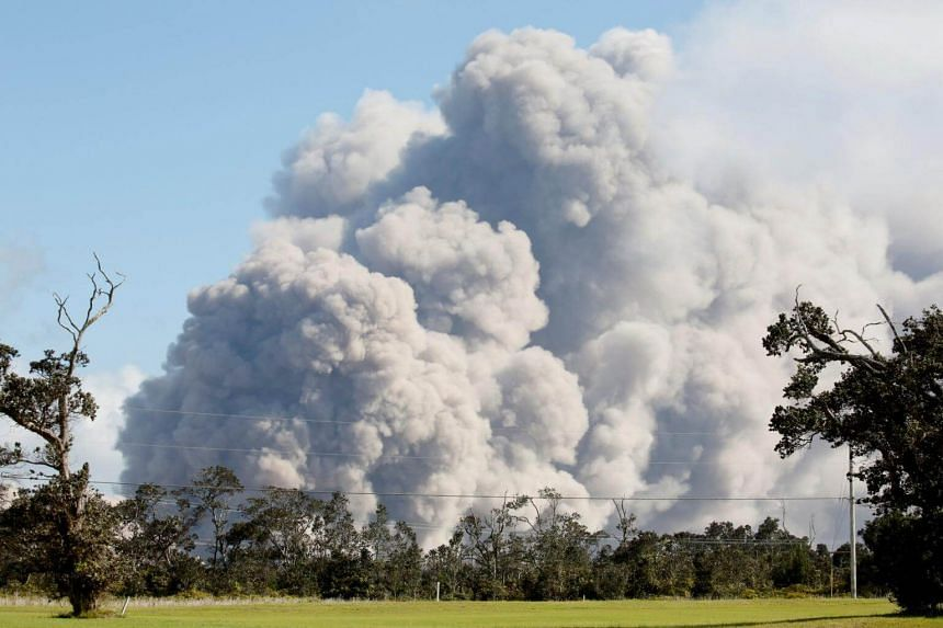 Ash erupts from the Halemaumau crater during ongoing eruptions of the Kilauea volcano in Hawaii on May 19, 2018.