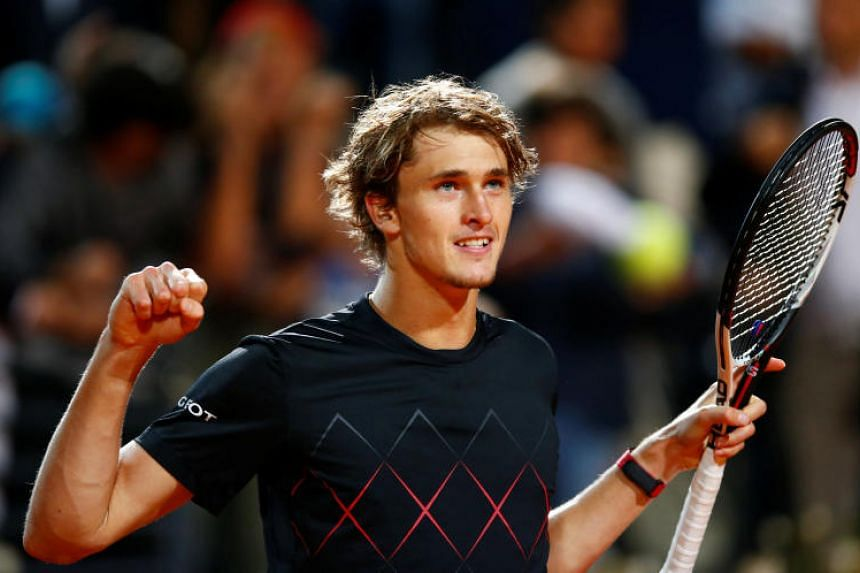 Germany's Alexander Zverev celebrates winning his semi final match against Croatia's Marin Cilic.