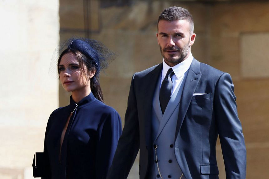 Former footballer David Beckham and his wife Victoria were dressed to impress, as they made their way to St George's Chapel.