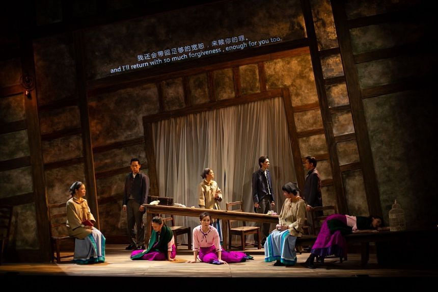 The theatre production P***ed Julie, performed at KC Arts Centre - Home of SRT. The cast members are (seated, from left) Mandy Cheang, Jean Toh, Kate Leong, Neo Hai Bin, Mia Chee, and (standing, from left) Timothy Wan, Flora Ho, Leong Fan Kai and Han