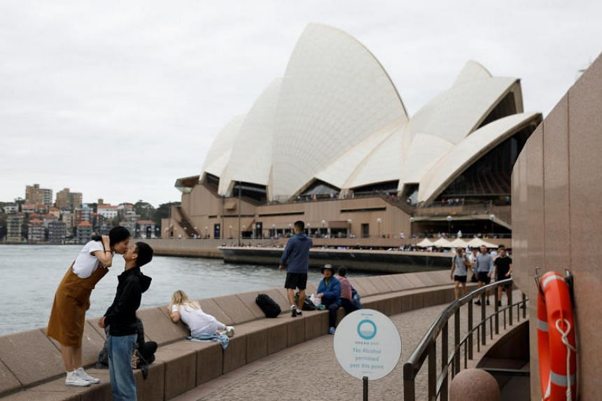 Chinese tourists posing for a photo near the Sydney Opera House.