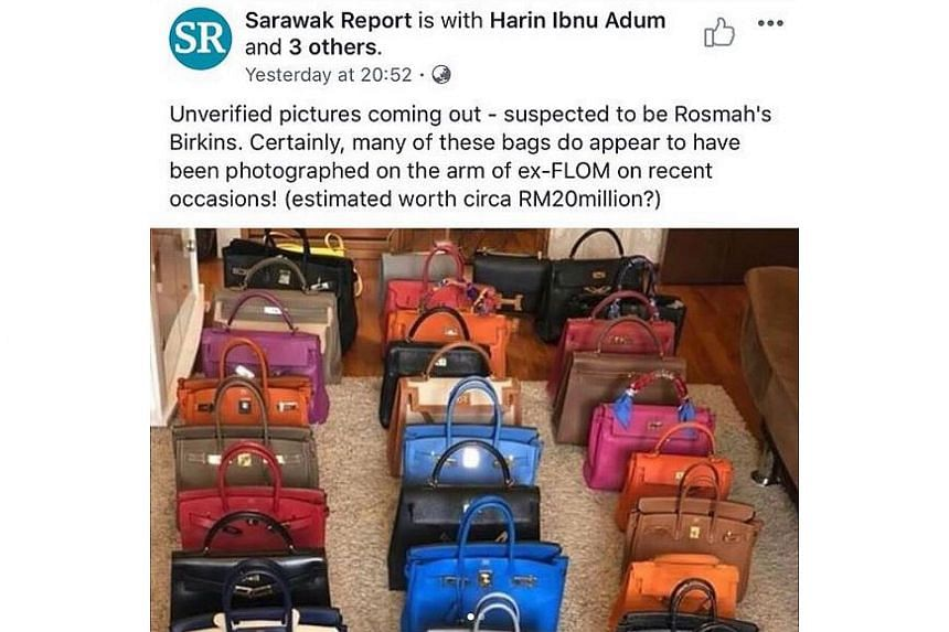 A screengrab taken by Singapore-based Shopfirstluxury, showing a photo used by Sarawak Report that was erroneously stated to show Birkin bags belonging to Madam Rosmah Mansor.