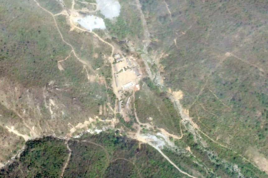A satellite image showing North Korea's Punggye-ri nuclear test site on May 14, 2018.