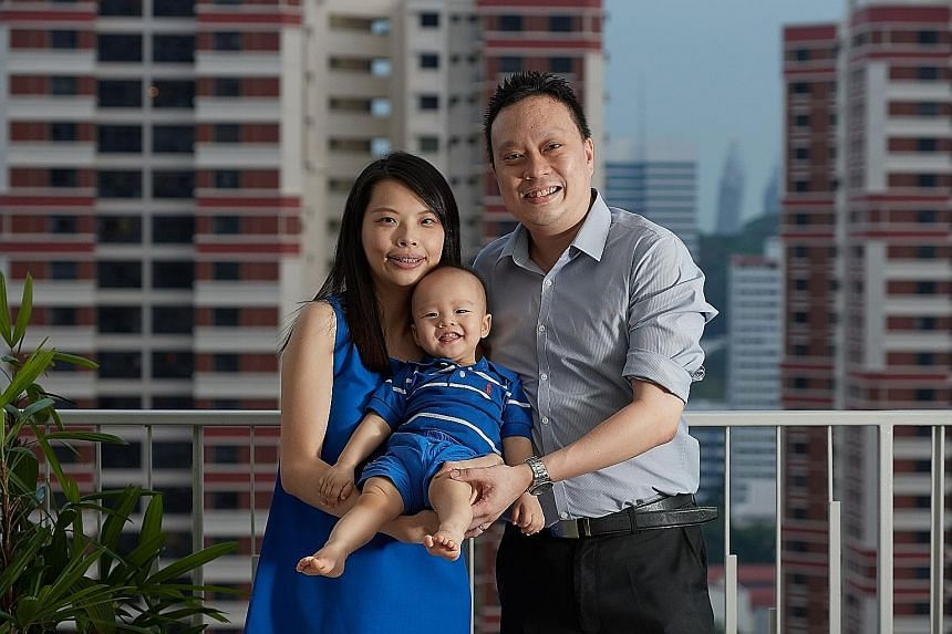 Mr Melvin Chong and his wife Song Simin with their son Jayden. Mr Chong says that they will top up the 17-month-old's Child Development Account as and when they need to use it.