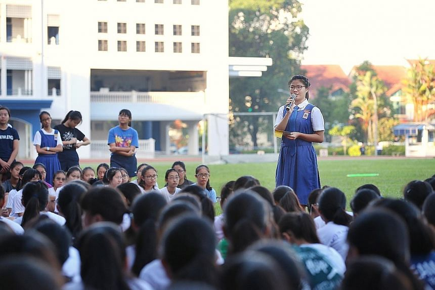 CHIJ St Nicholas Girls' School is among a handful of primary and secondary schools here that hold student council elections as part of efforts to give students more say and help them learn more about citizenship.