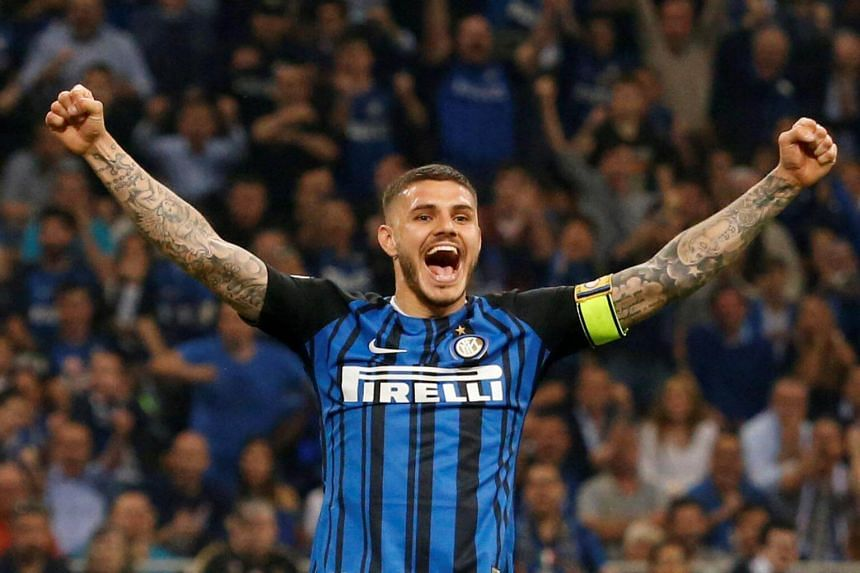 Inter Milan's Mauro Icardi celebrates their second goal in the match against Juventus on April 28, 2018.