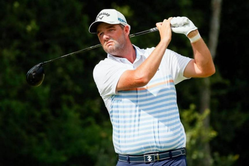 Marc Leishman playing a shot during the third round of the AT&T Byron Nelson golf tournament on May 19, 2018.