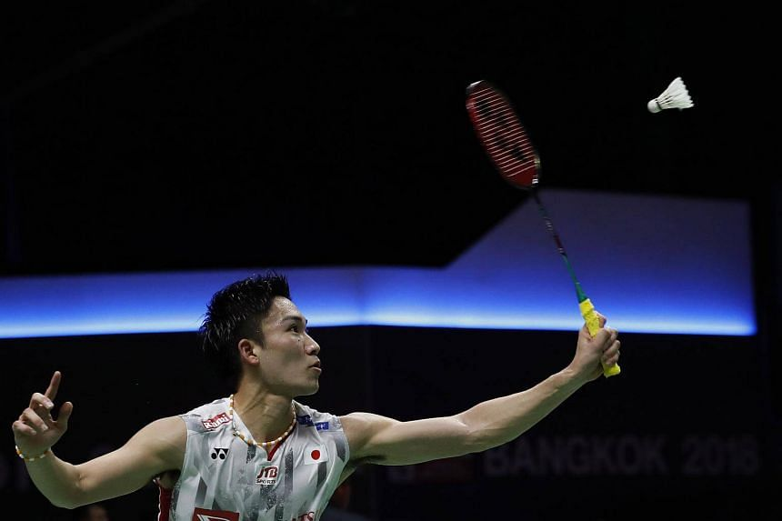 Kento Momota of Japan in action during his Thomas Cup Group C badminton match at the Thomas & Uber Cup 2018 in Bangkok, on May 20, 2018.
