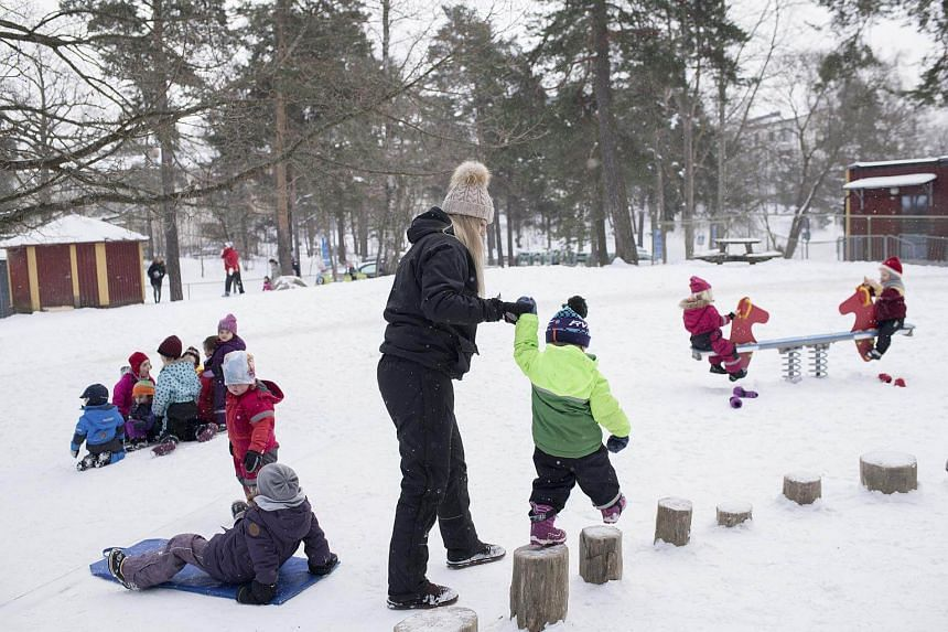 The Seafarer's Preschool in a suburb of Stockholm, where playtime is organized to prevent girls and boys from dividing up along traditional gender lines, on March 7, 2018.