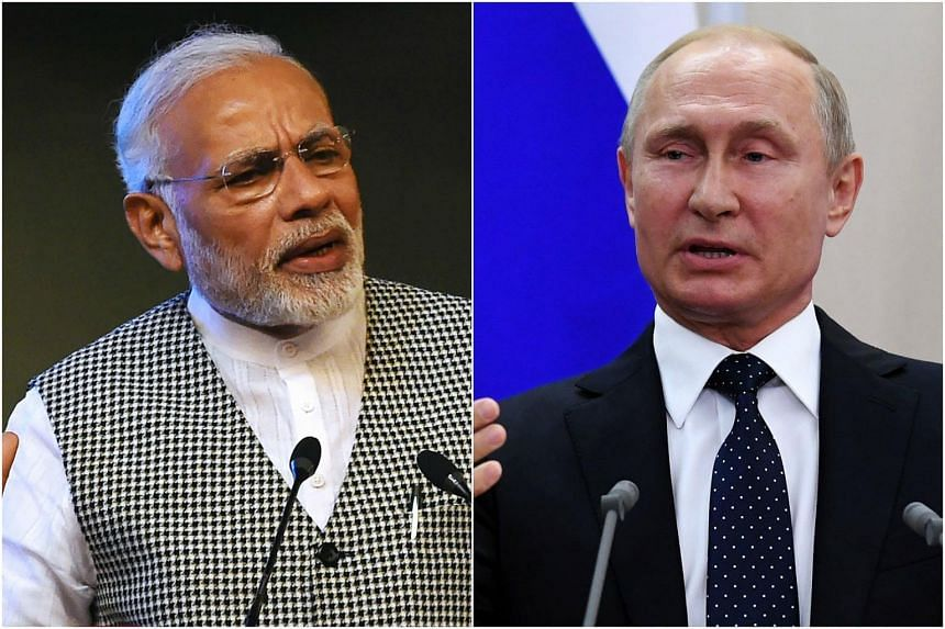 Indian Prime Minister Narendra Modi (left) will meet Russian President Vladimir Putin in Sochi on May 21, 2018.