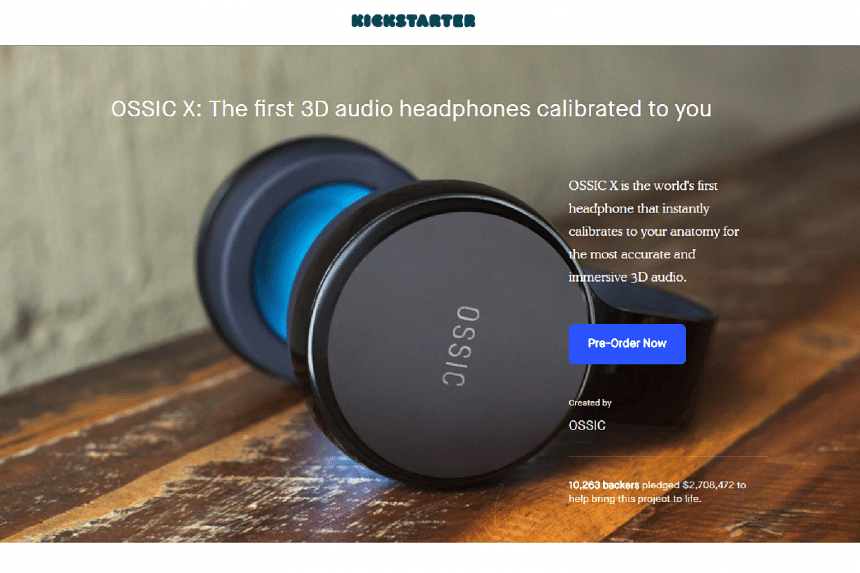 The company had raised US$2.7 million on Kickstarter and US$3.2 million on Indiegogo for its Ossic X headphones.
