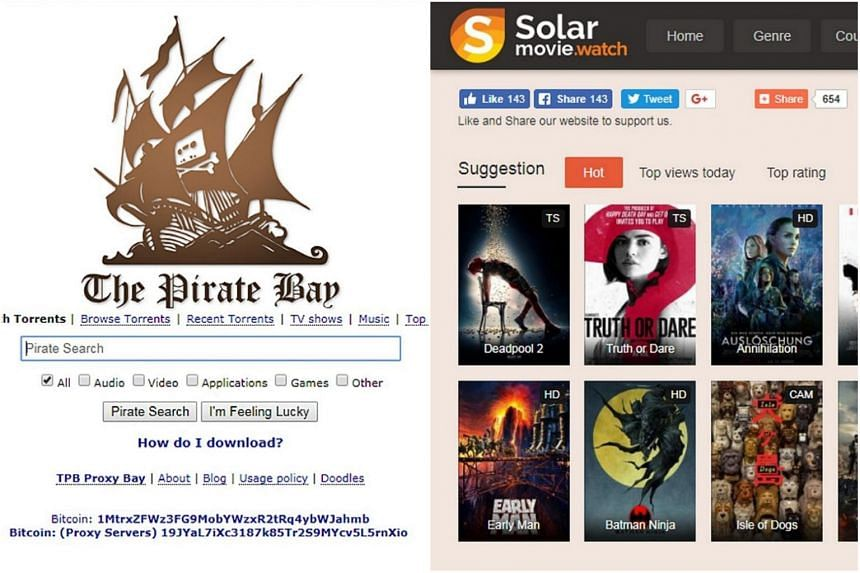 The Pirate Bay and Solarmovie.sc are two out of the 53 piracy websites that have been blocked in Singapore.