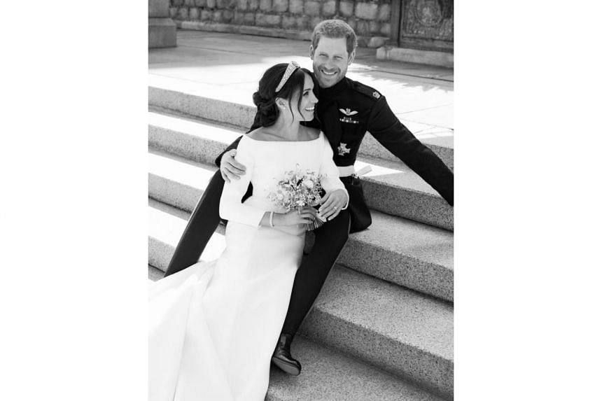 One of the official wedding photographs of Prince Harry and Meghan Markle taken on the East Terrace of Windsor Castle on May 19, 2018.