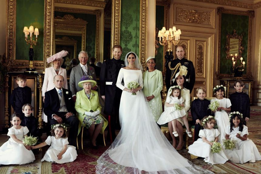 One of the official wedding photographs of Prince Harry and Meghan Markle taken in The Green Drawing Room of Windsor Castle on May 19, 2018.