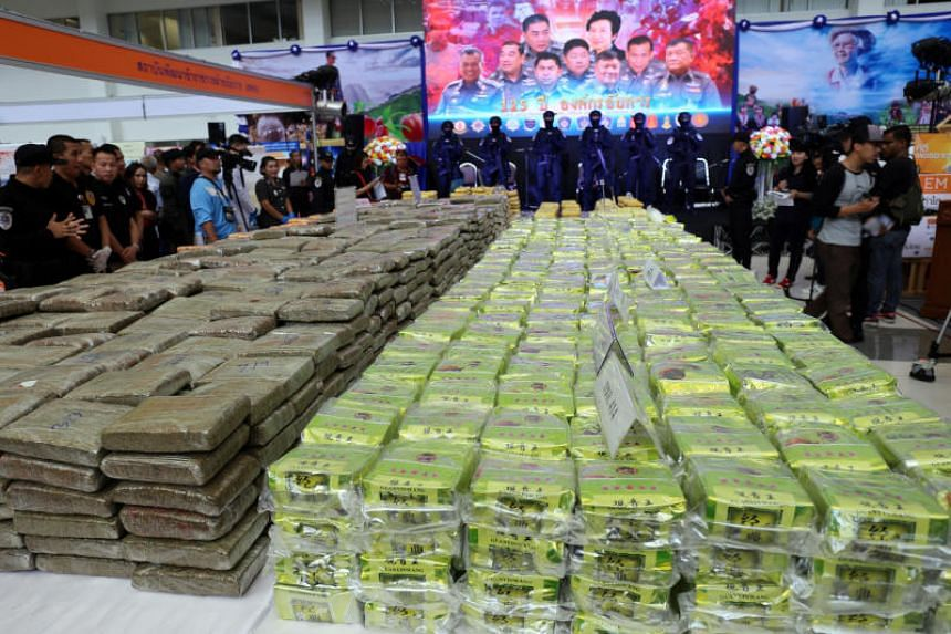 Thailand police show one of their largest crystal methamphetamine busts during a news conference in Bangkok on April 3, 2018.