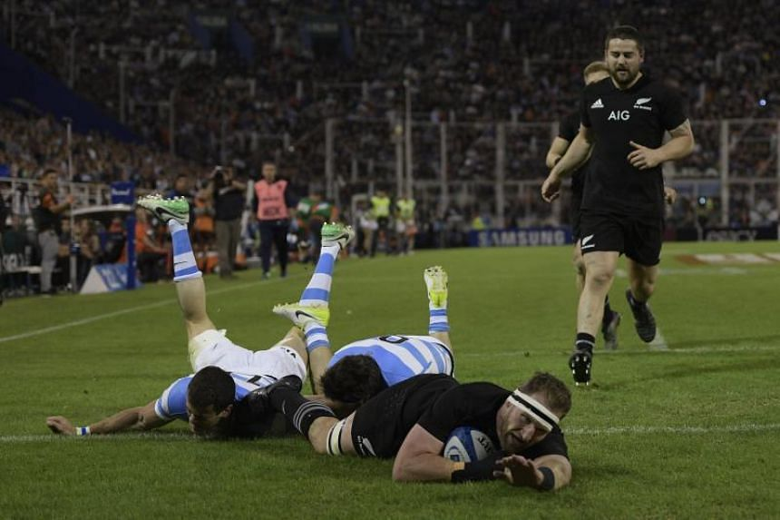 All Blacks' Kieran Read scores a try against Los Pumas during their Rugby Championship match at Jose Amalfitani stadium in Buenos Aires on Sept 30, 2017.