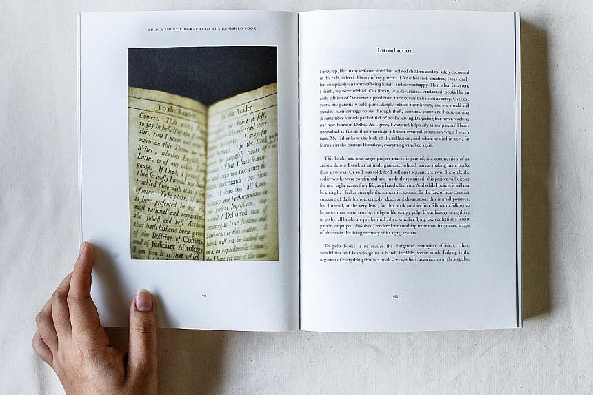Pulp: A Short Biography Of The Banished Book. Vol I: Written In The Margins (2014-2016, above), by Singaporean artist Shubigi Rao, is part of her 10-year project on the destruction of books and libraries which began in 2014.