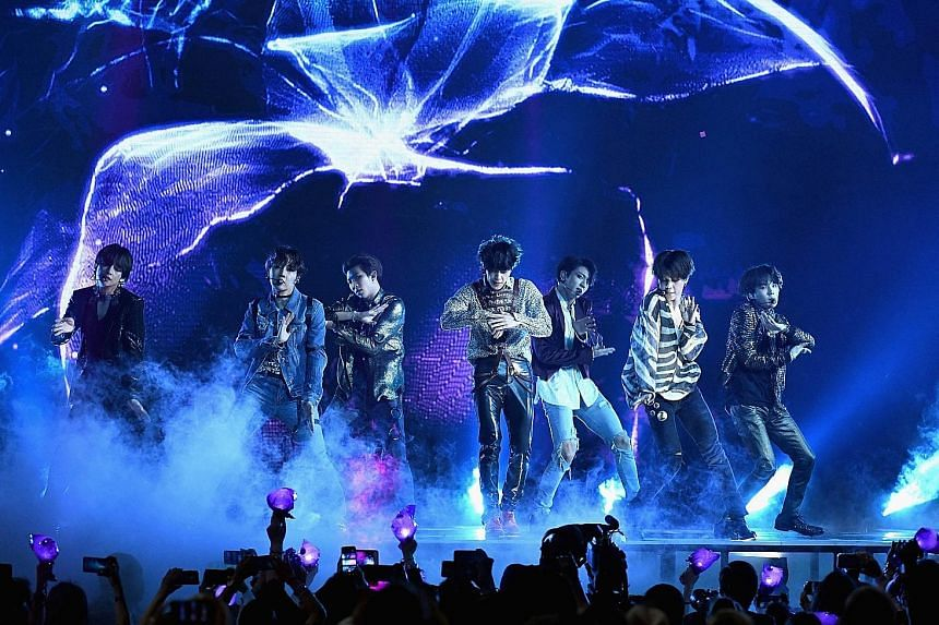 K-pop act BTS performing at the Billboard Music Awards at MGM Grand Garden Arena in Las Vegas, Nevada, on Sunday.