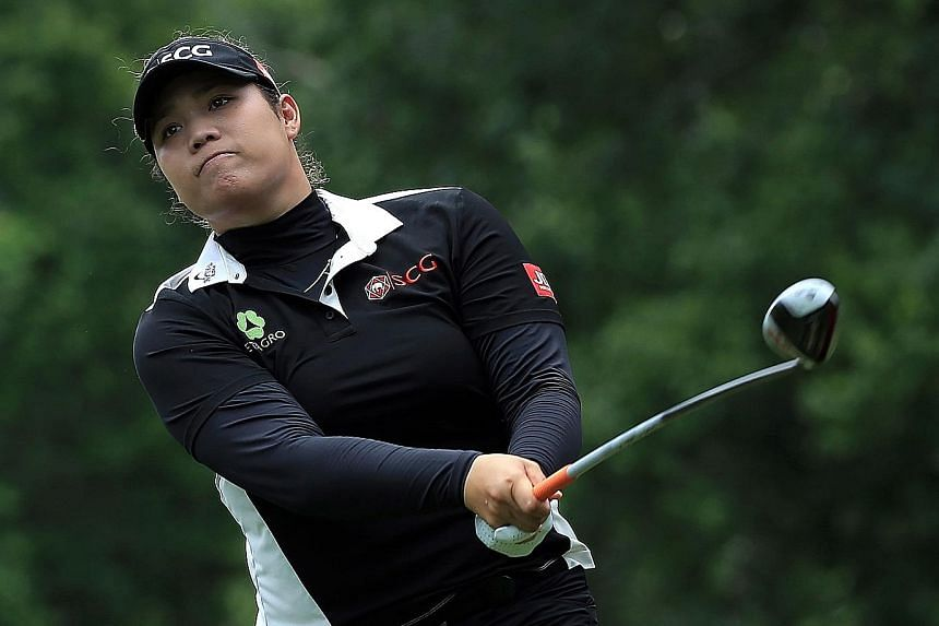 Ariya Jutanugarn of Thailand hits her tee shot on the fourth hole during the third and final round of the Kingsmill Championship on Sunday. She birdied the second play-off hole to beat Japan's Nasa Hataoka and clinch the title.