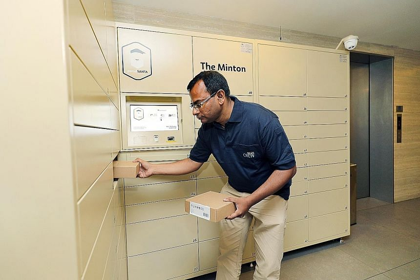 Parcel Santa will partner SPH and tap its network to make deliveries to parcel lockers located in 100 condominium precincts. (Left) An SPH employee shows how parcels can be delivered at the Minton condominium.