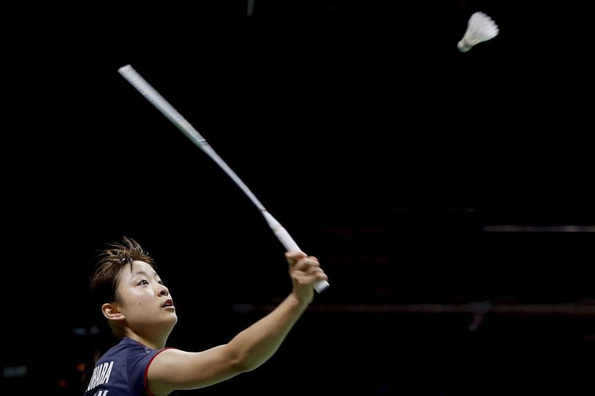 Nozomi Okuhara in action during an Uber Cup Group A badminton match at the Thomas and Uber Cup 2018 in Bangkok, on May 21, 2018.