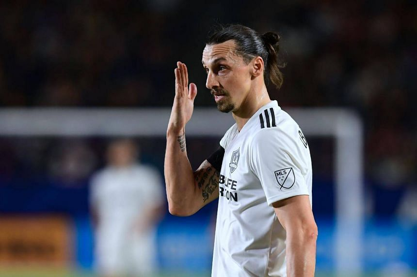 Zlatan Ibrahimovic (pictured) of LA Galaxy slapped Montreal Impact's Michael Petrasso in the 40th minute of a Major League Soccer match on May 21, 2018.