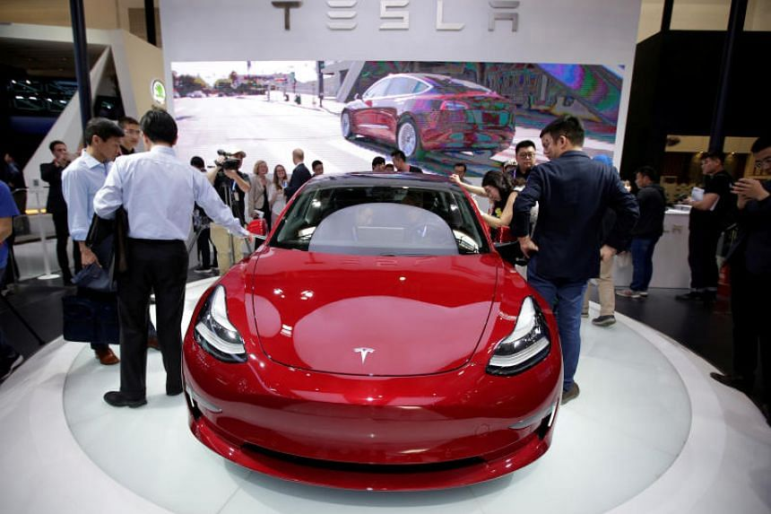 A Tesla Model 3 car is displayed at the Auto China 2018 motor show in Beijing, China, on April 25, 2018.