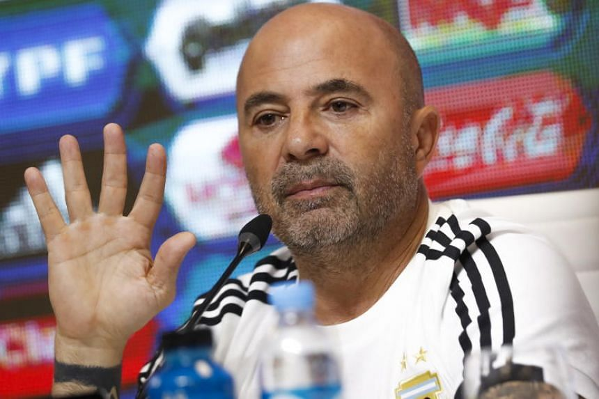 Argentina's national soccer team coach Jorge Sampaoli at a press conference at the Argentine Football Association (AFA) venue, in Buenos Aires, Argentina, on May 21, 2018.