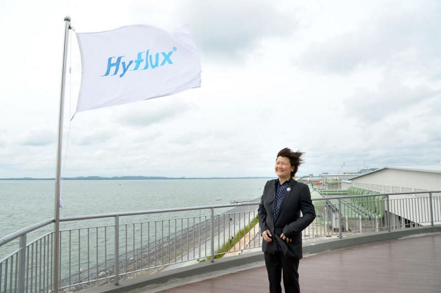 Ms Olivia Lum, founder and group CEO of Hyflux at its Tuaspring Desalination Plant on Sept 10, 2013.