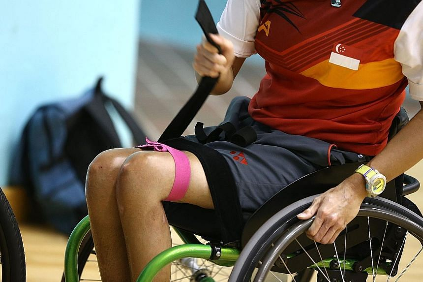 Ms Yap gearing up for training in wheelchair badminton, a sport that she picked up about two years ago.