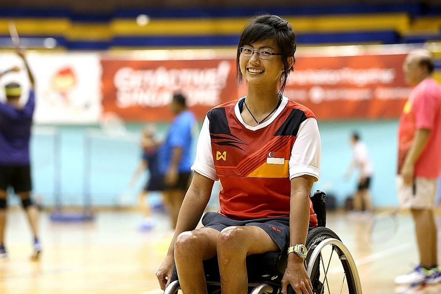 Ms Yap Qian Yin, who has taken part in international competitions as a para-sailor and won a gold medal at the 2015 Asean Para Games, goes for training in wheelchair badminton at Yio Chu Kang Sports Hall. She likes the excitement and intensity of the