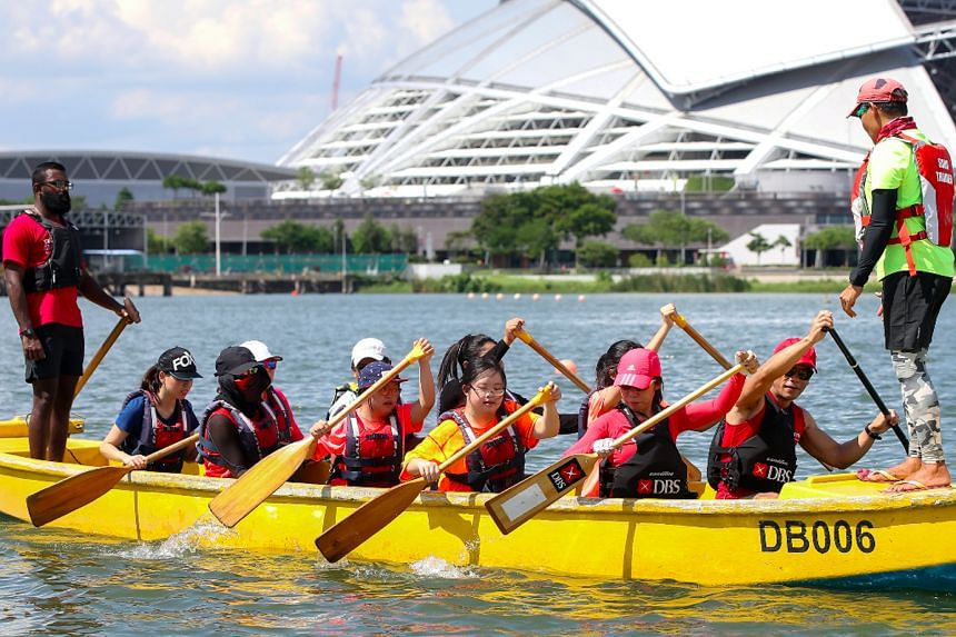 DBS Asia Dragons assisted certified coaches to coach youth with special needs and youth at risk, in preparation for them racing at the new Community Race category at the regatta on June 2.