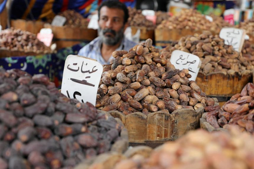 Dates sold at a market ahead of the Muslim fasting month of Ramadan in Cairo, Egypt.
