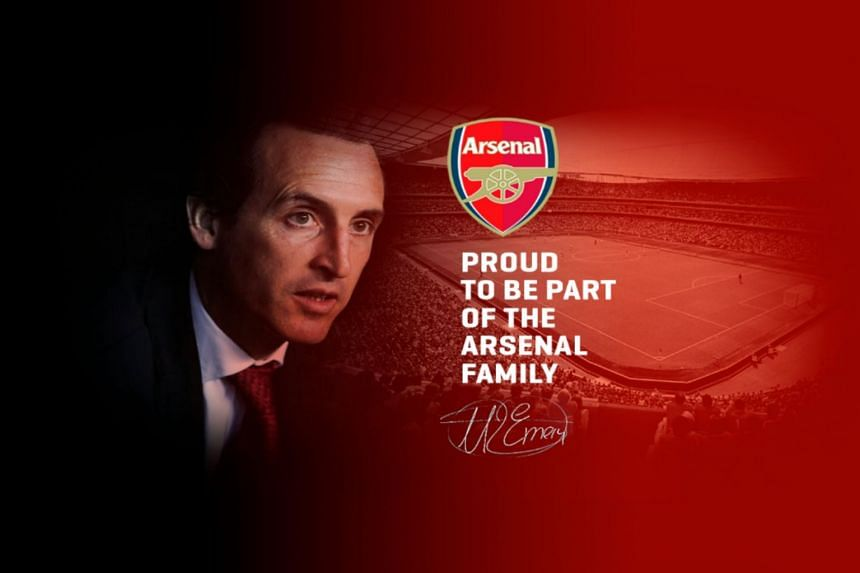 "Unai Emery's official website bore a photo of him with the message ""Proud to be part of the Arsenal family"", before it was taken down."