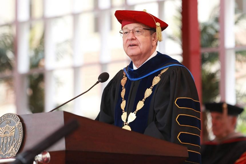 University of Southern California president C.L. Max Nikia attending a commencement ceremony on May 11, 2018.