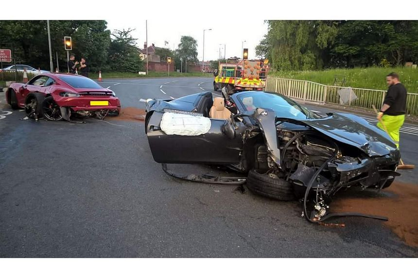 The crash involving a Ferrari and a Porsche occurred at a roundabout in the Tinsley suburb of Sheffield, on May 20.