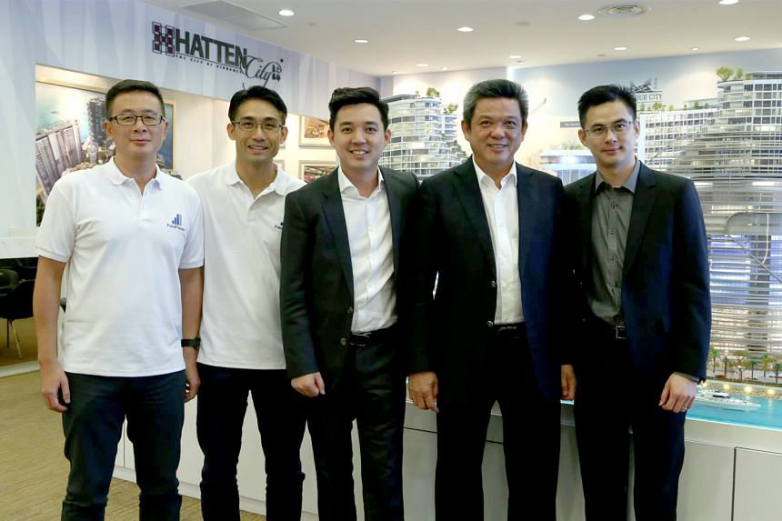 """From left: FundPlaces chief operating officer Tan Kok Keong and chief executive Brian Wee, and Hatten Land executive chairman Colin Tan, adviser Eric Tan, and executive director Edwin Tan. Their platform allows Hatten to issue """"hotel tokens"""" that can"""