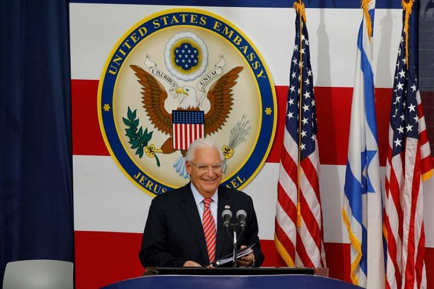 US ambassador to Israel David Friedman delivers a speech during the opening of the US embassy in Jerusalem, on May 14, 2018.