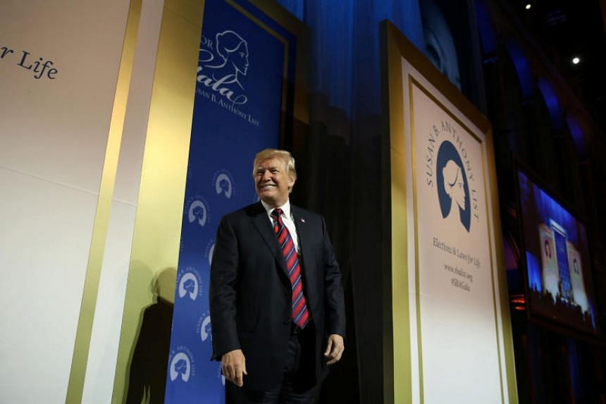 US President Donald Trump speaks at the Susan B. Anthony List 11th Annual Campaign for Life Gala at the National Building Museum in Washington, on May 22, 2018.