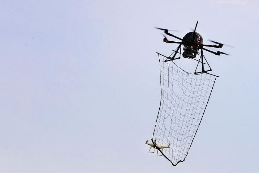 The RSAF's Drone Catcher system, which uses a net to snare errant drones.