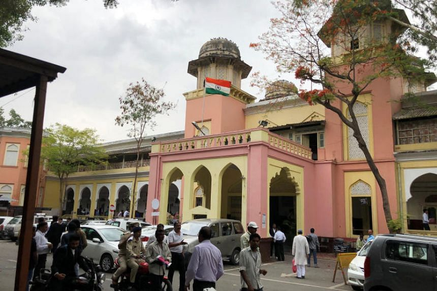 A view of the district court that convicted Naveen Gadke of raping and murdering a baby girl in Indore, India, on May 15, 2018.