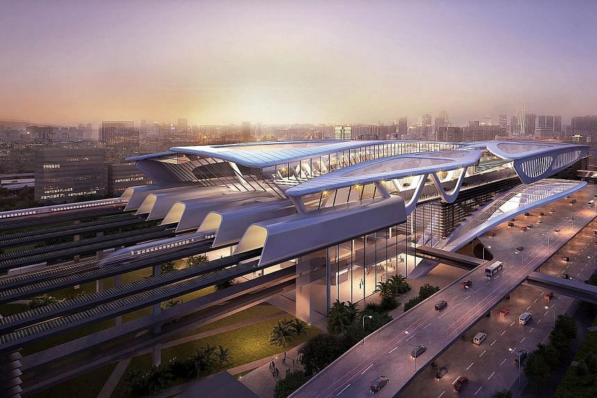 An artist's impression of Bandar Malaysia, one of the stations in the Kuala Lumpur-Singapore high-speed rail project. Other mega projects being reviewed include the East Coast Rail Link.