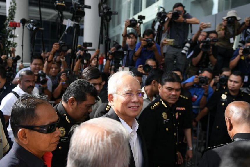 Malaysia's former prime minister Najib Razak arrives at the Malaysian Anti-Corruption Commission office in Putrajaya, Malaysia, on May 24, 2018.