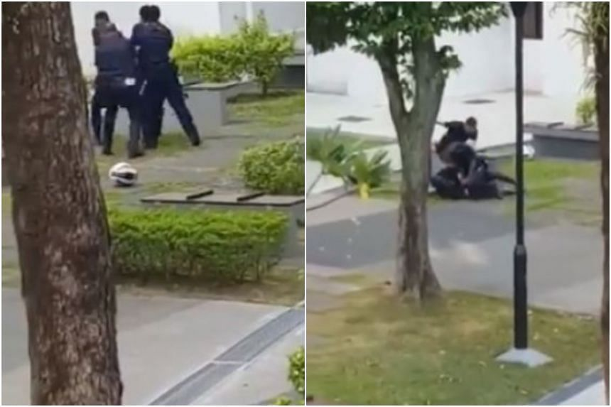 The incident occurred at about 9am on Aug 4, 2017. One of the police officers was pushed to the ground so hard that he suffered bleeding in the brain.