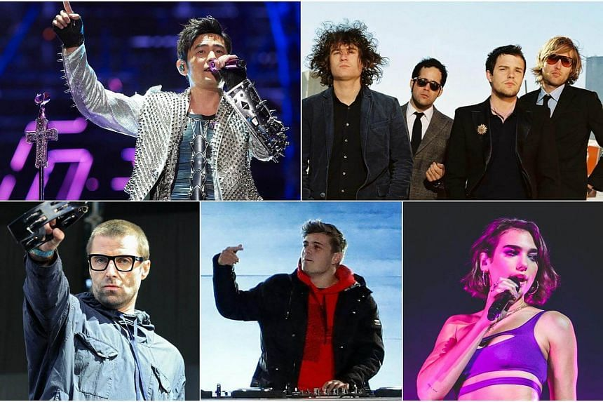 Some of the major music acts performing at the upcoming 2018 Formula 1 Singapore Airlines Singapore Grand Prix include (clockwise from top left) Jay Chou, The Killers, Dua Lipa, Martin Garrix and Liam Gallagher.