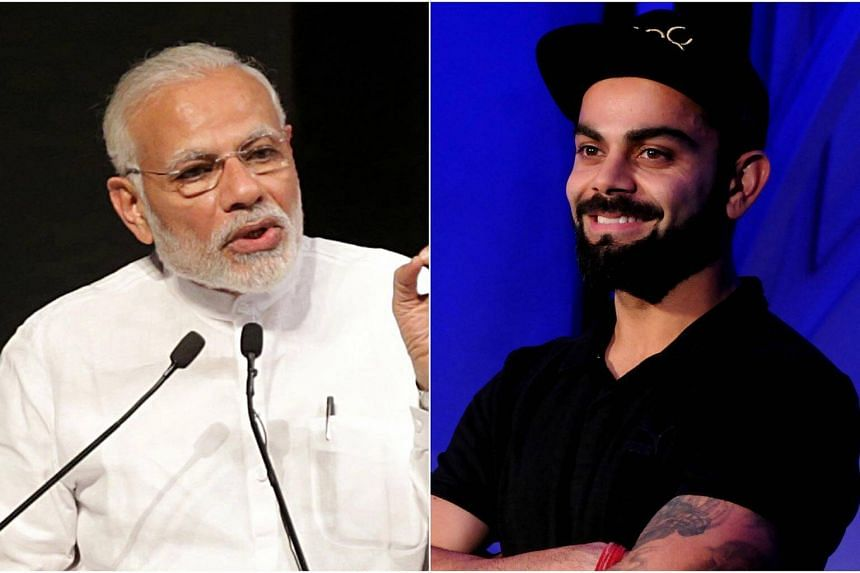Indian Prime Minister Narendra Modi (left) has accepted a fitness challenge thrown by the country's cricket captain Virat Kohli.