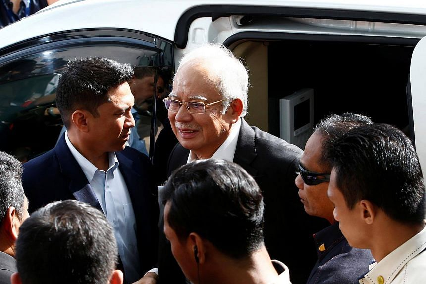 Malaysia's former prime minister Najib Razak arrives to give a statement to the Malaysian Anti-Corruption Commission in Putrajaya, Malaysia, on May 24, 2018.