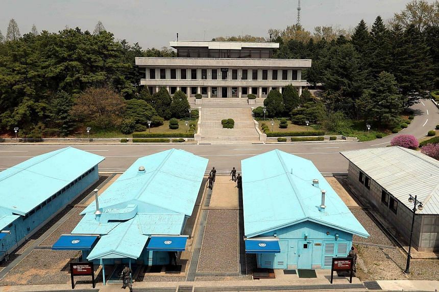 A general view of the truce village of Panmunjom in the Demilitarised Zone dividing the two Koreas, on April 26, 2018.