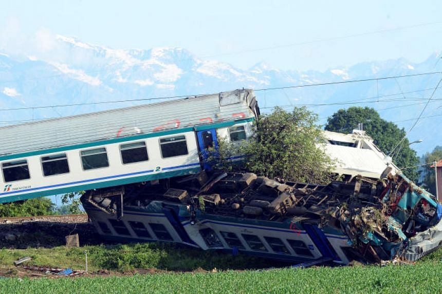 A five-carriage train smashed into a lorry on May 23, 2018, after the heavy goods vehicle broke through a level crossing and got stuck on the tracks between the towns of Rodallo and Caluso.