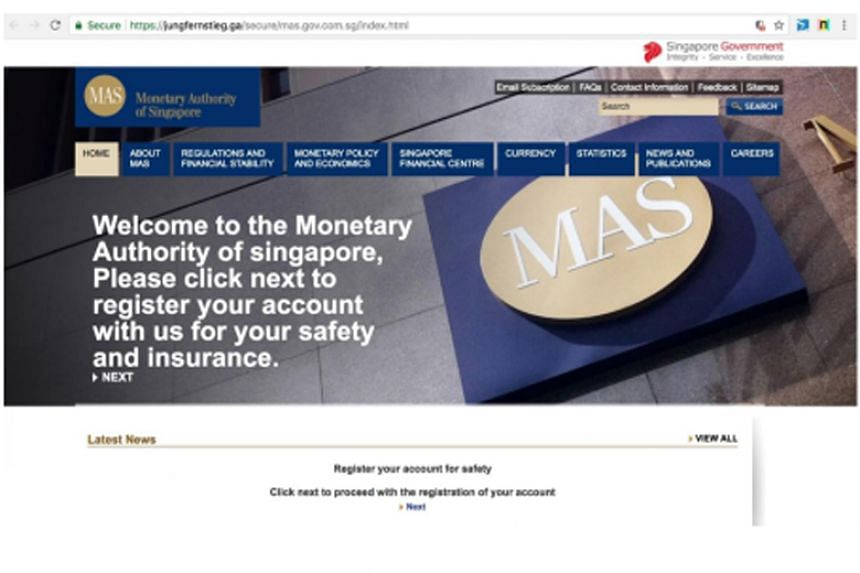 The e-mails claim that banks in Singapore have come under attack by hackers, and contain a link to a fake Monetary Authority of Singapore website.